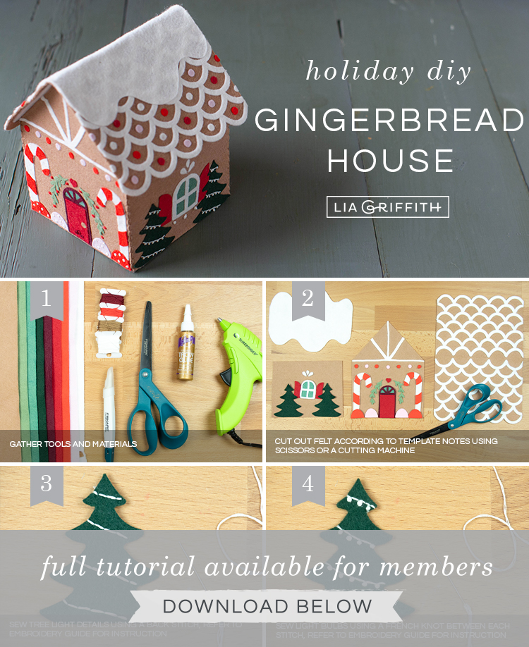 Photo tutorial for felt gingerbread house by Lia Griffith