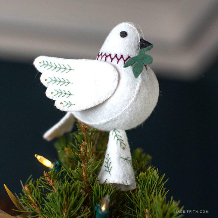 handmade dove tree topper