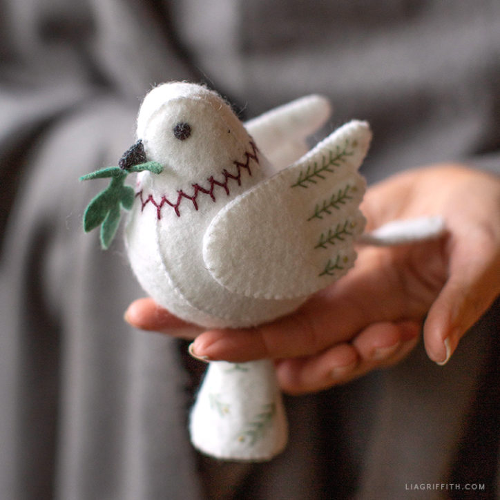 embroidered felt dove tree topper