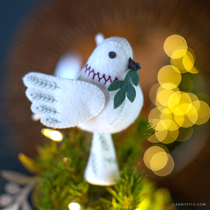 DIY felt dove tree topper
