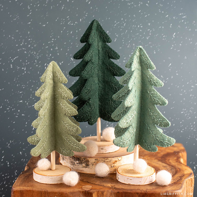 "2 CUT New Christmas Tree Embroidered 2/"" Hair Felties"