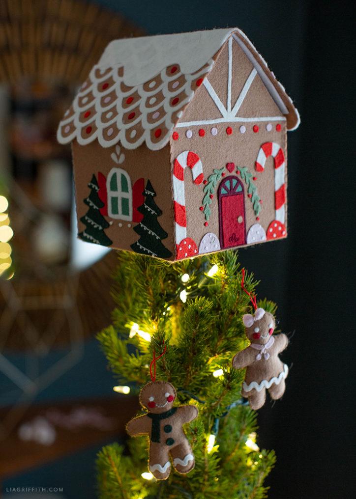 felt gingerbread house tree topper