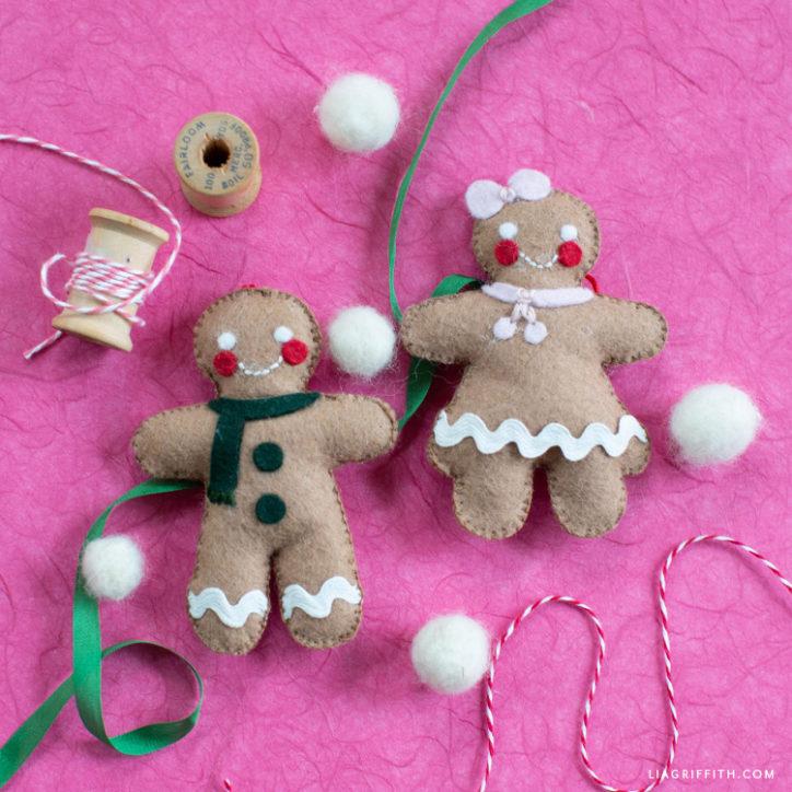 handmade felt gingerbread dolls