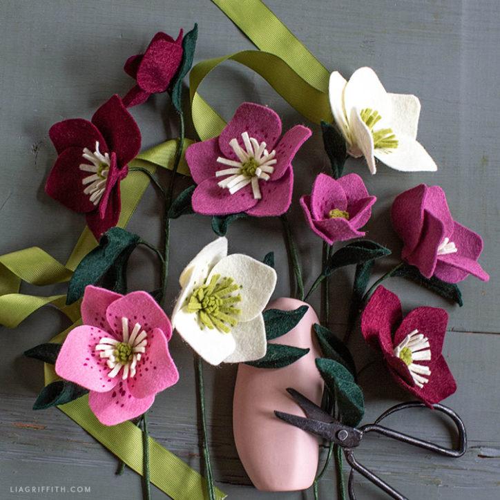 handmade felt hellebore flowers