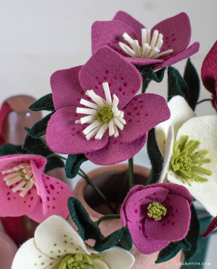 pink and white felt hellebore flowers