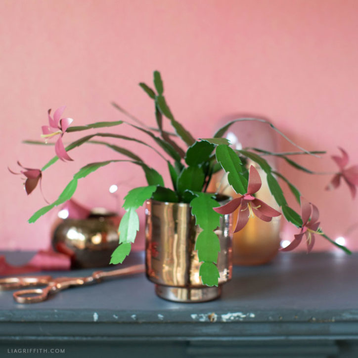 DIY frosted paper Christmas cactus