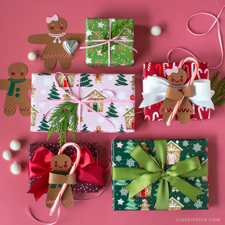 gingerbread gift wrap and candy huggers