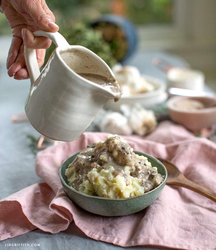 gluten-free and dairy-free mushroom gravy and mashed potatoes