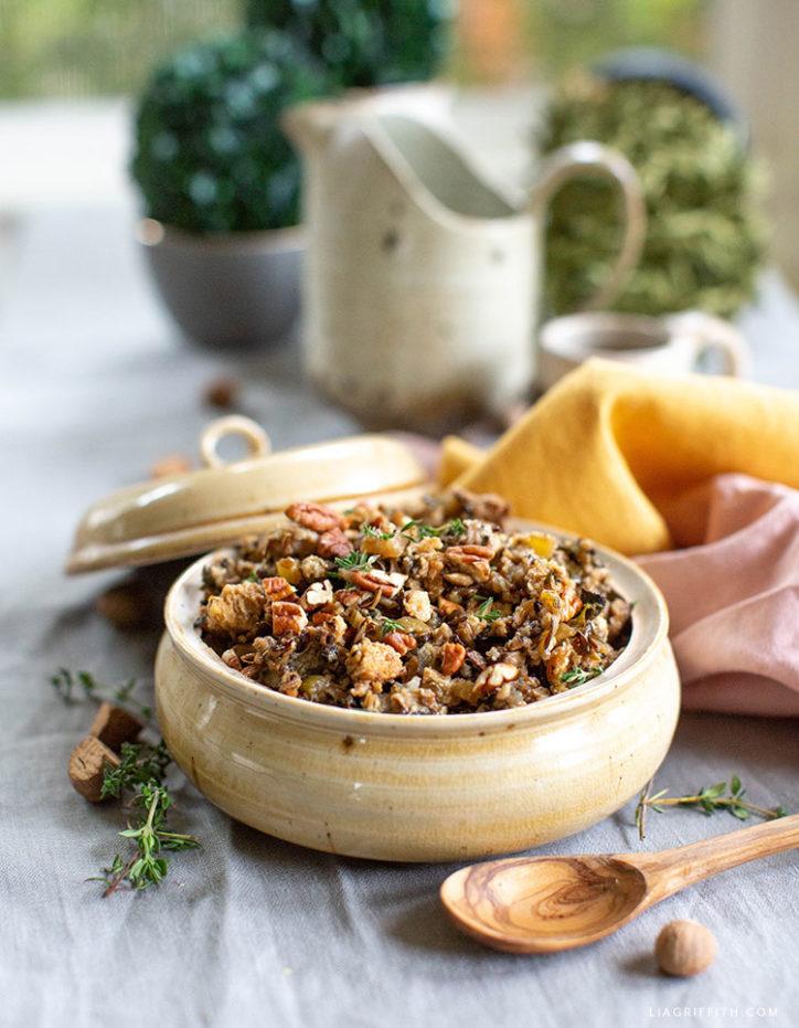 gluten-free mushroom and wild rice stuffing