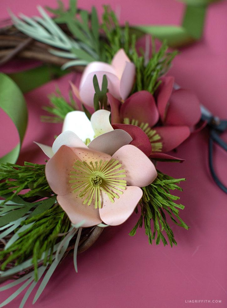 paper hellebore flowers for winter wreath