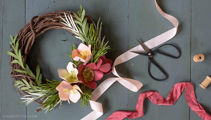 DIY paper hellebore winter wreath