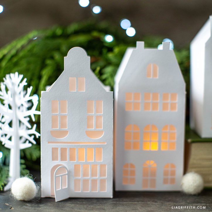 tea light candle houses made out of cardstock paper