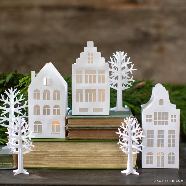 papercut European houses and trees