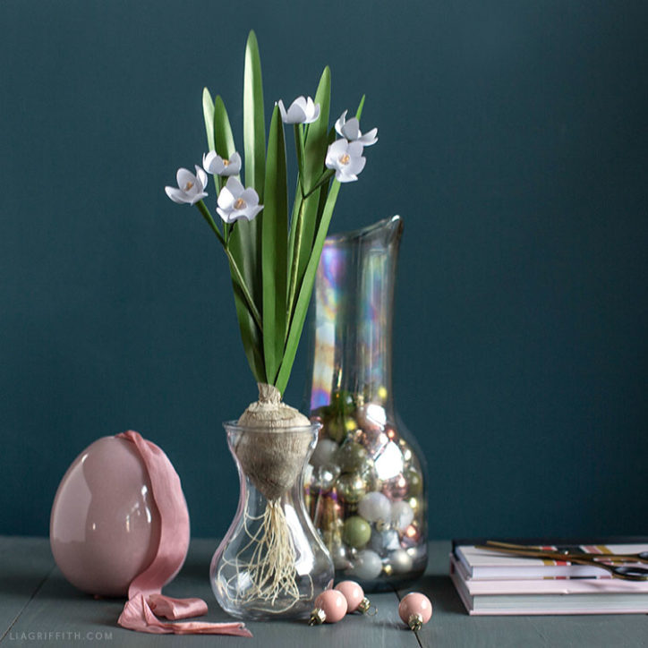 frosted paper paperwhites with crepe paper bulb