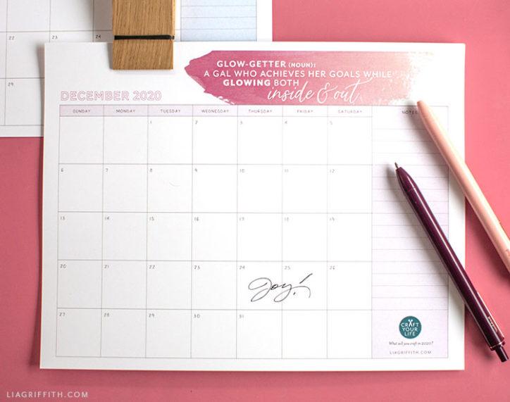 2020 printable calendar with inspirational wording