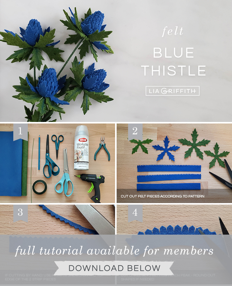 Photo tutorial for felt blue thistle blooms by Lia Griffith