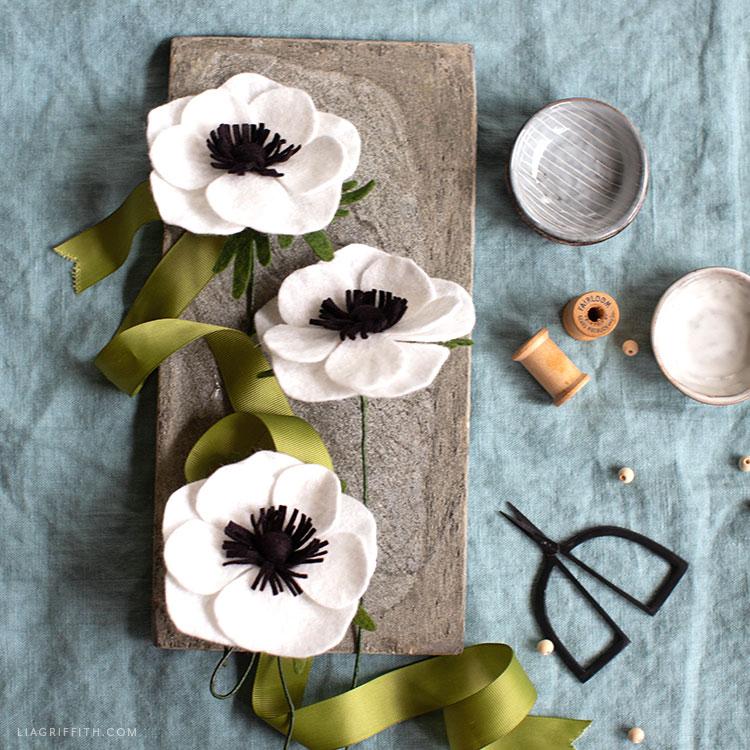 felt anemone flowers