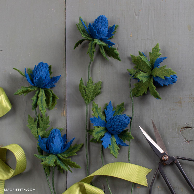 DIY felt blue thistle flowers