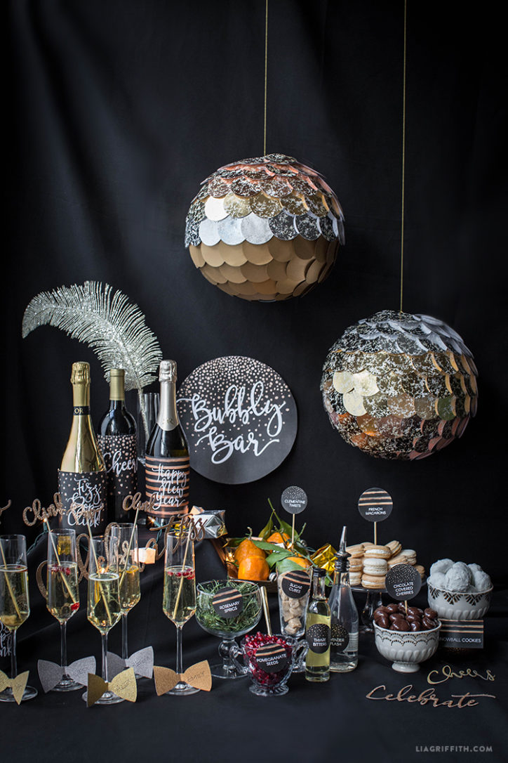 DIY champagne bar with new year's eve decorations