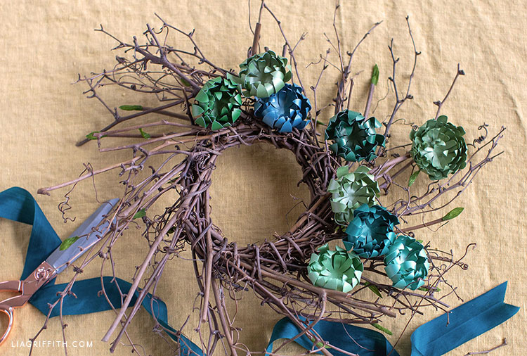 frosted paper succulents on grapevine wreath