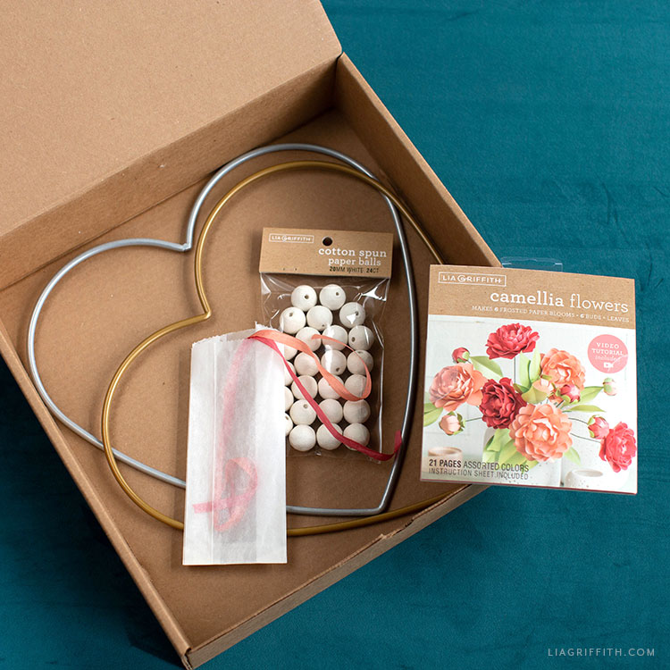 blooming heart wreath craft box by Lia Griffith