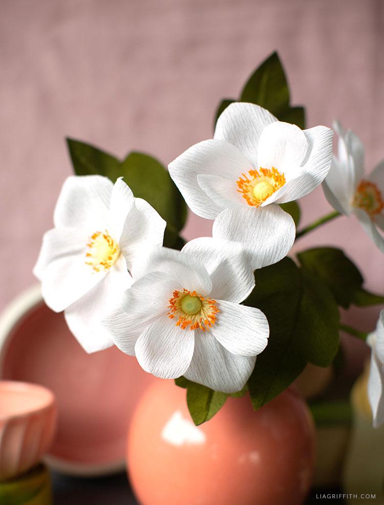 handmade crepe paper Japanese anemones