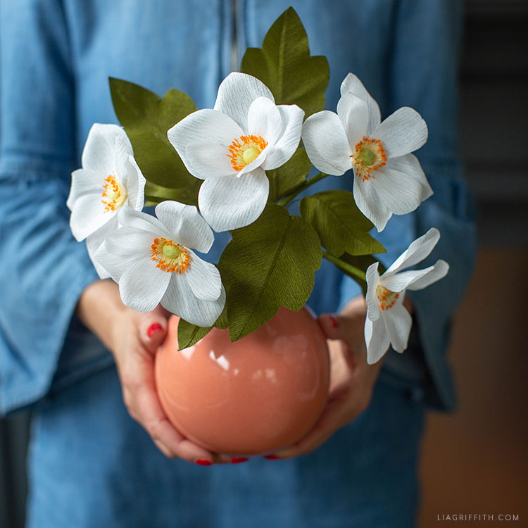 crepe paper Japanese anemone flower bouquet