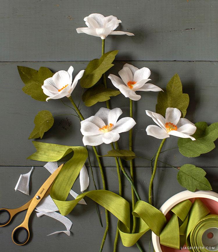 DIY crepe paper Japanese anemones