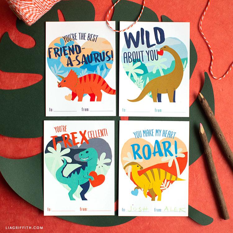 Printable Dinosaur Valentines - Lia Griffith