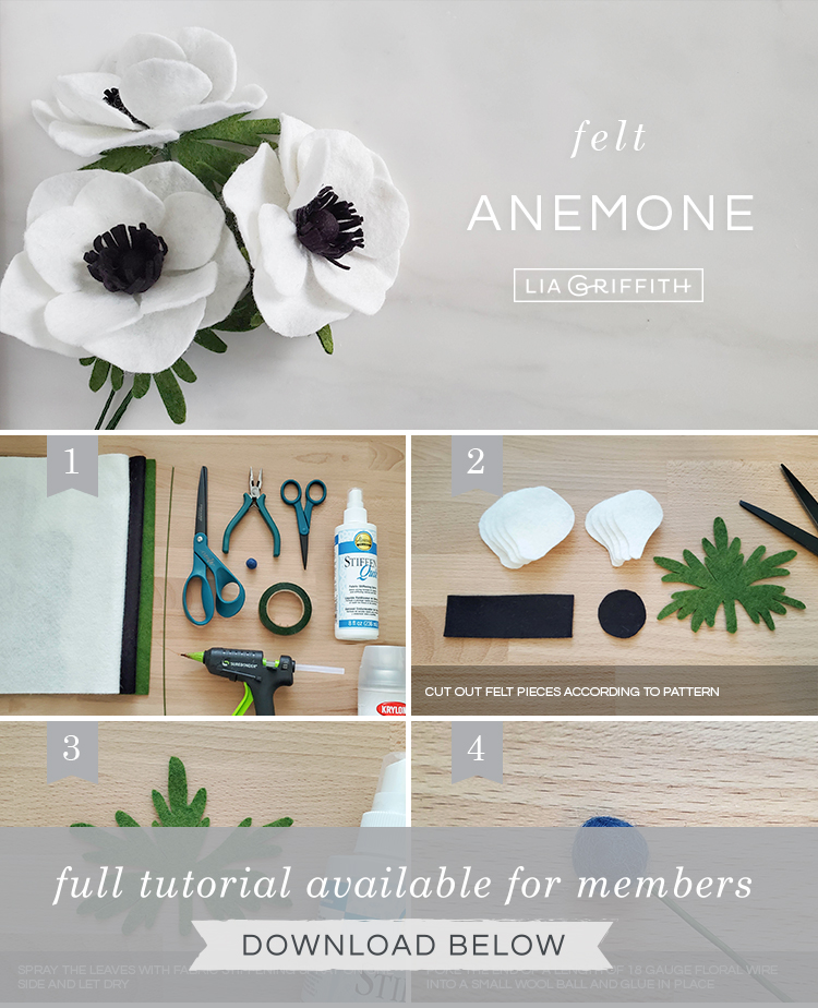 Photo tutorial for felt anemone flowers by Lia Griffith