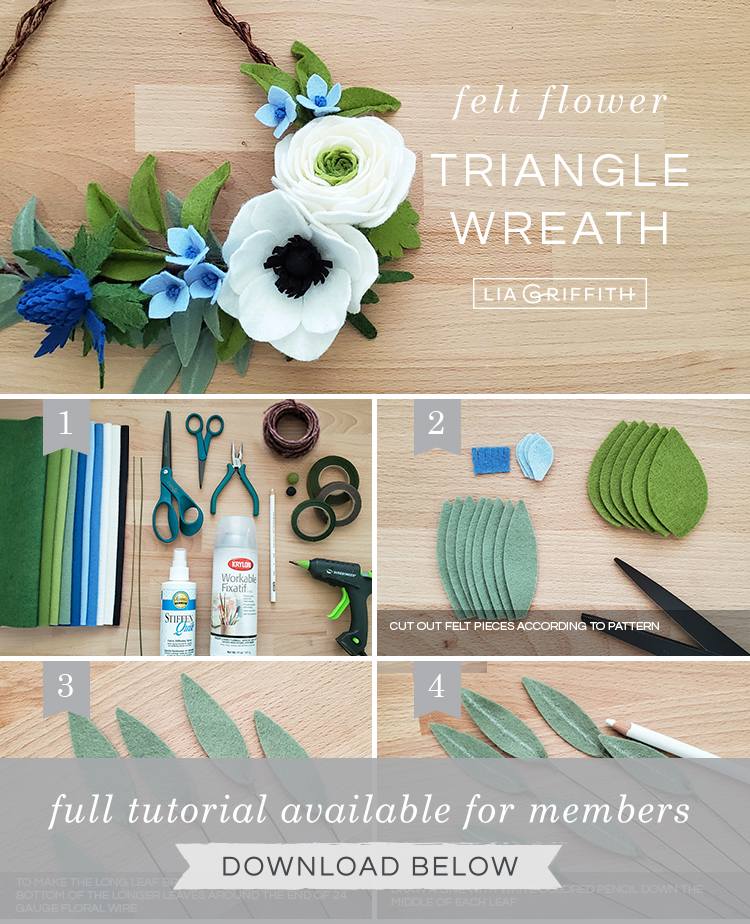 Photo tutorial for felt flower triangle wreath by Lia Griffith