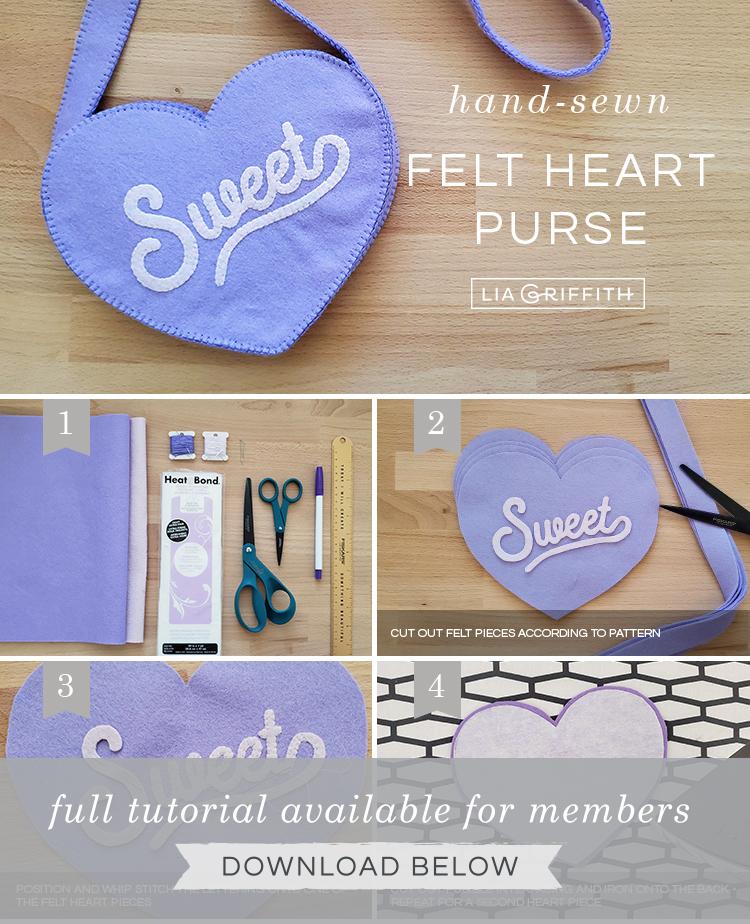 felt heart purse photo tutorial by Lia Griffith