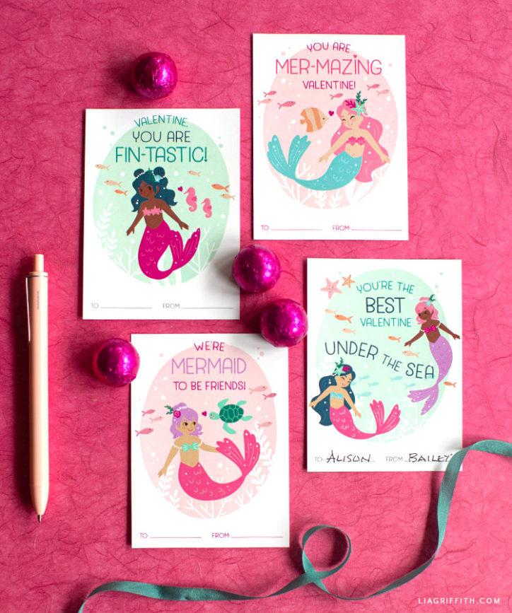 printable mermaid valentines for kids