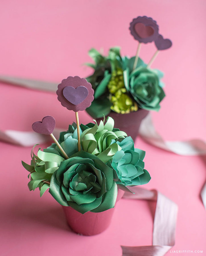 DIY paper succulent valentines gifts