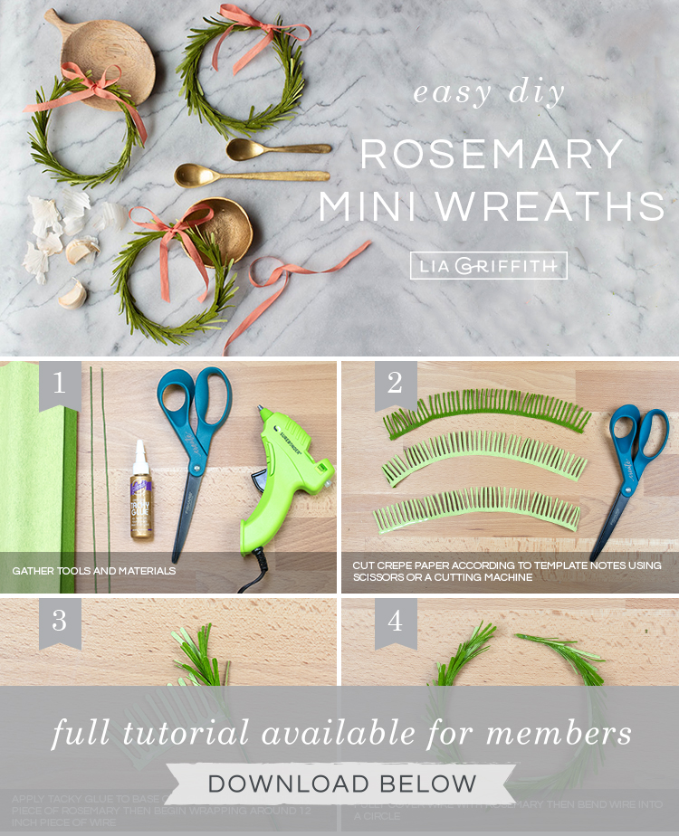 Photo tutorial for crepe paper mini rosemary wreath by Lia Griffith