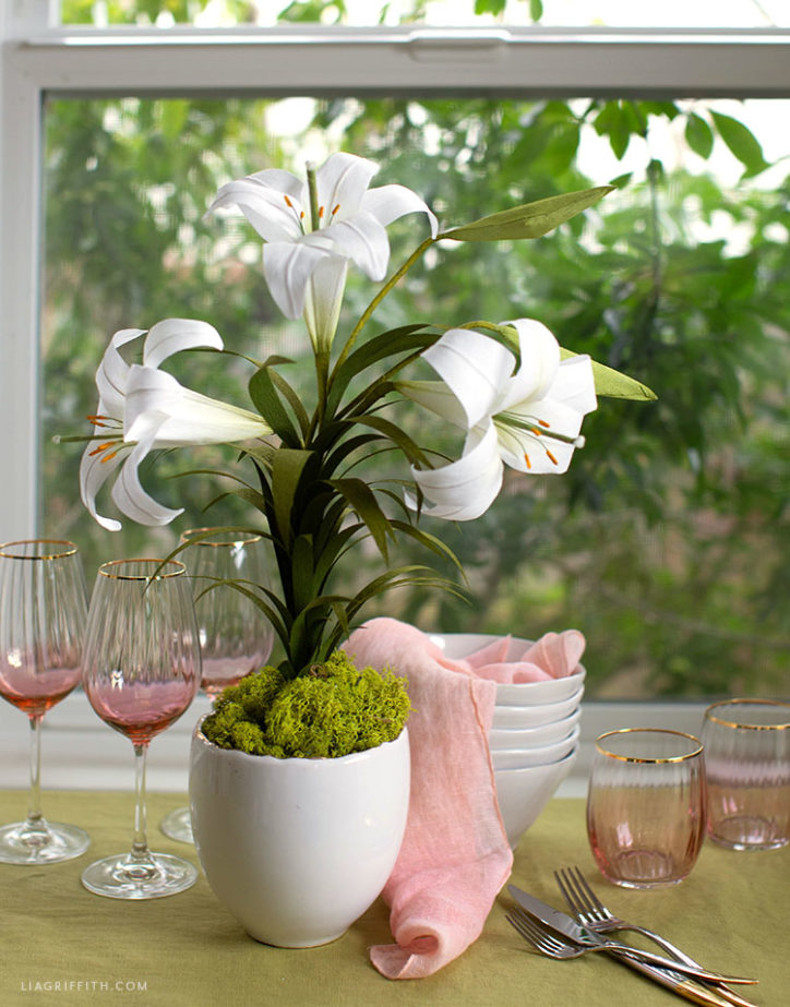 crepe paper Easter lily for Easter table