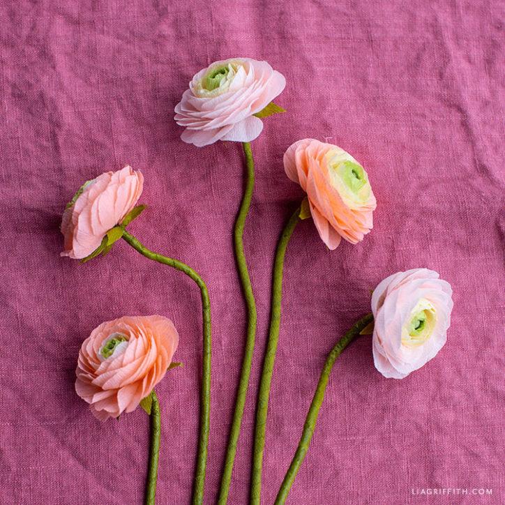 crepe paper ranunculus flowers