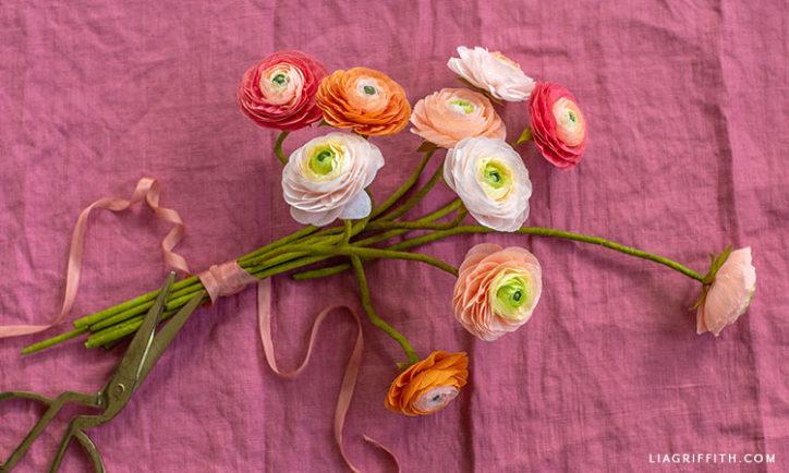 papercut crepe paper peachy watermelon ranunculus flowers