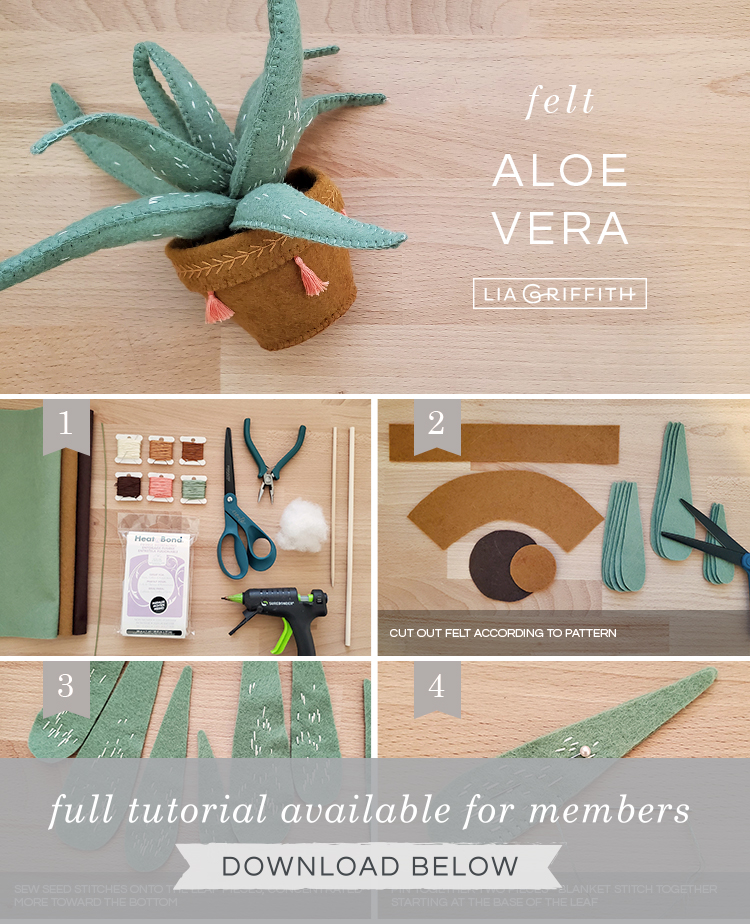Photo tutorial for felt aloe vera plant by Lia Griffith