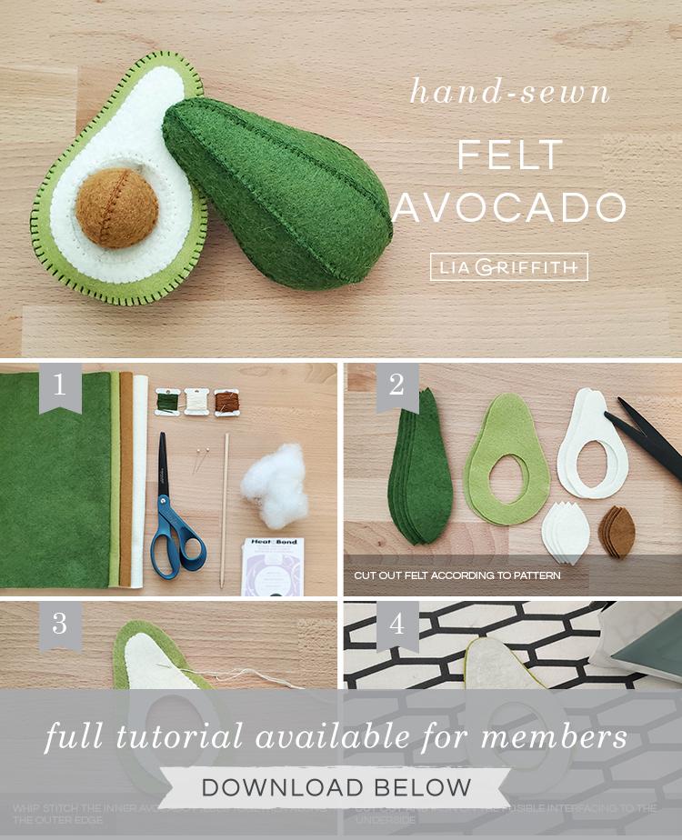 Photo tutorial for hand-sewn felt avocado by Lia Griffith