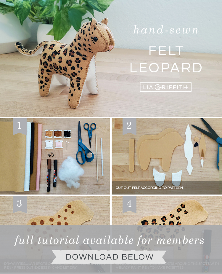 Photo tutorial for felt leopard stuffie by Lia Griffith