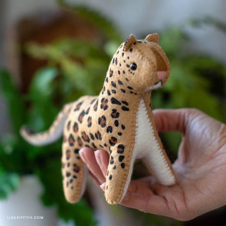 Handmade felt leopard stuffie