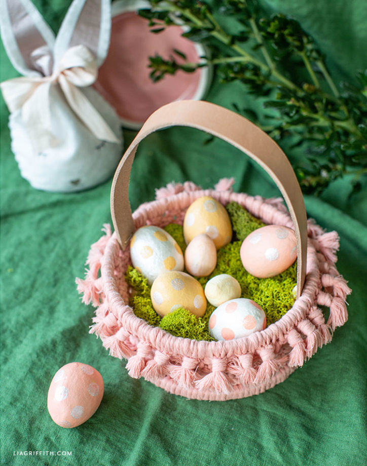 macrame Easter basket with painted eggs and felt Easter bunny treat bag