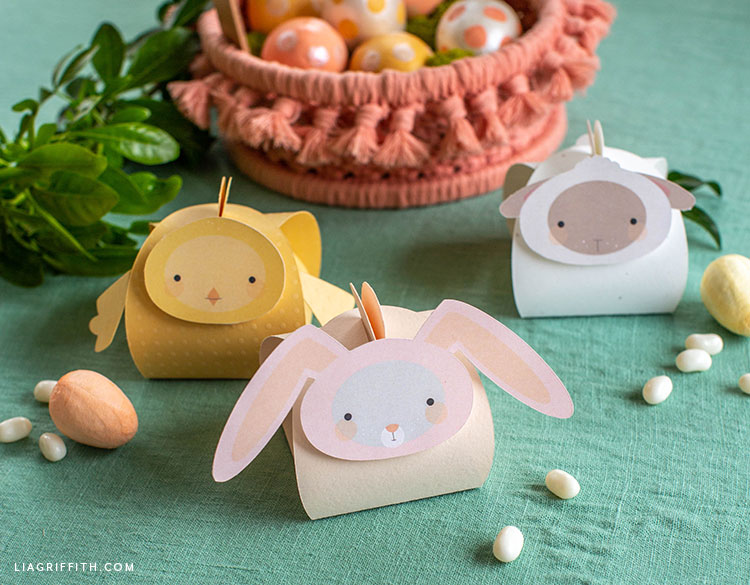 Easter animal treat boxes with pink macrame basket and Easter eggs