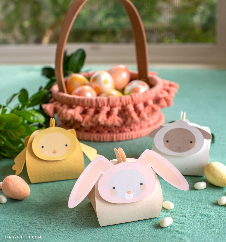 Easter animal treat boxes with pink macrame Easter basket