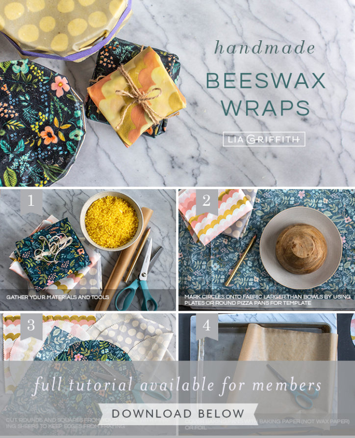 Photo tutorial for handmade beeswax wraps by Lia Griffith