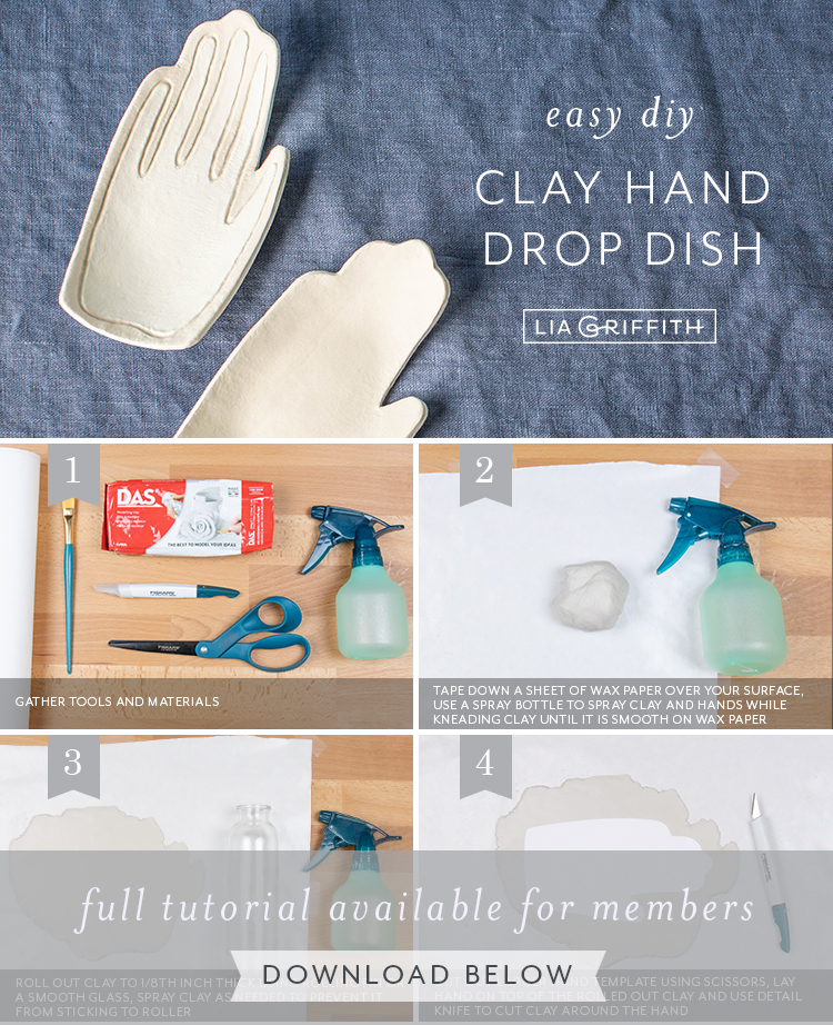 Photo tutorial for clay hand drop dish by Lia Griffith