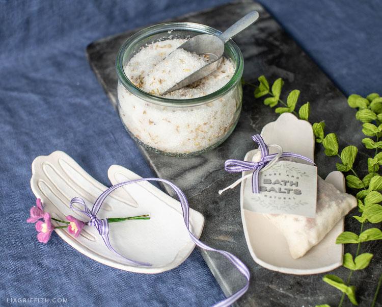 clay hand drop dish with felt flowers and DIY bath salts