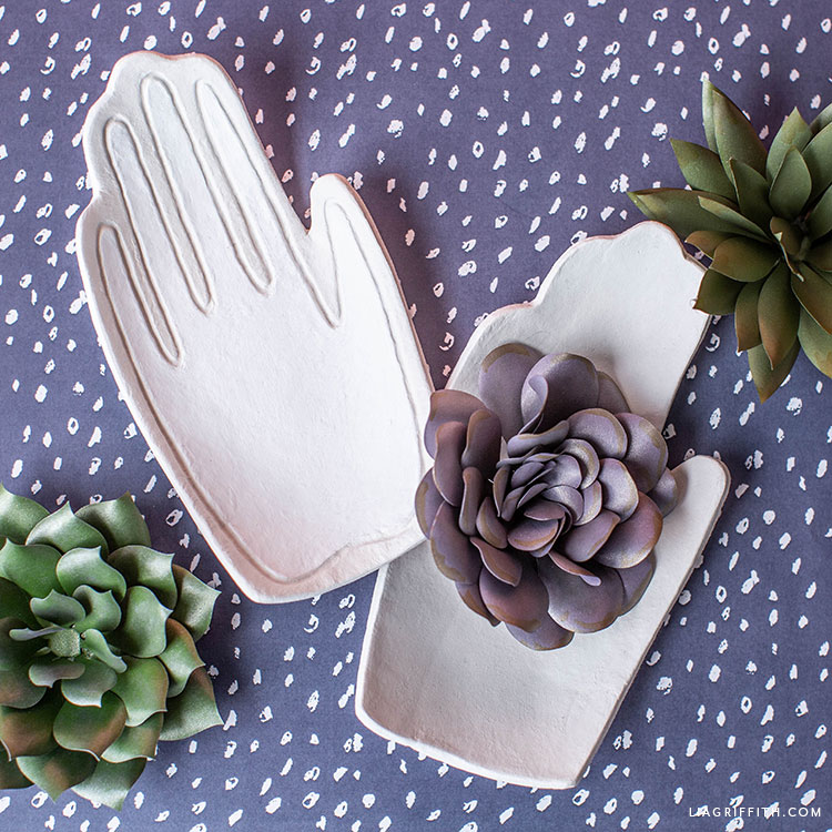 clay hand drop dish with frosted paper succulents