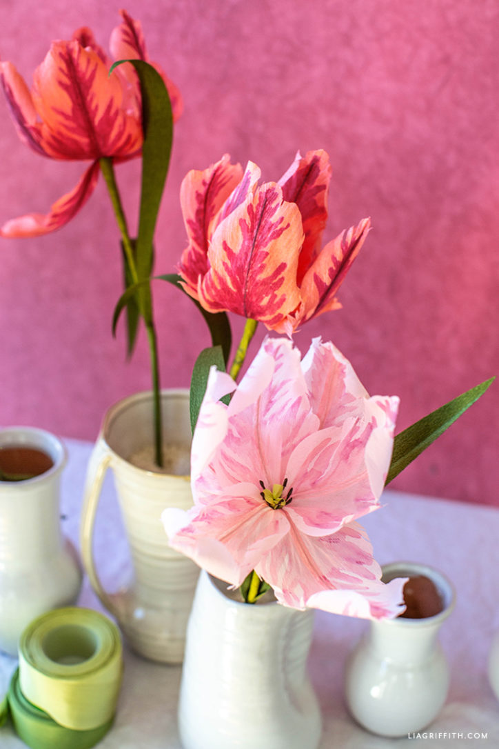 handmade crepe paper parrot tulips